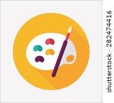 art palette with paint brush...   Shutterstock . vector #282474416