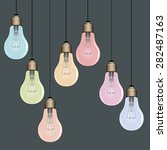 hanging colorful lightbulbs... | Shutterstock .eps vector #282487163