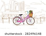Pink Retro Bicycle With Flower...