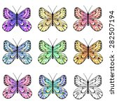 set of colorful  butterflies | Shutterstock .eps vector #282507194