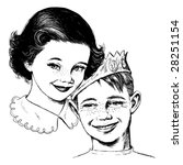 vintage 1950s girl and boy ... | Shutterstock .eps vector #28251154