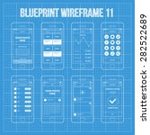 mobile app wireframe ui kit 11. ... | Shutterstock .eps vector #282522689