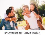 young couples having fun on the ... | Shutterstock . vector #282540014
