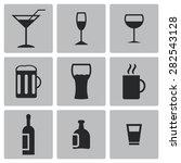 vector black beverages icon set | Shutterstock .eps vector #282543128