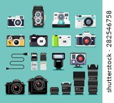 Set Of Camera Flat Icons....