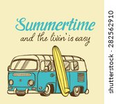 hand drawn retro surf bus | Shutterstock .eps vector #282562910