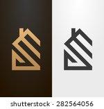 Stock vector simple line house logo icon 282564056