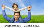 child  father  shoulder. | Shutterstock . vector #282565268