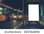 illuminated blank billboard... | Shutterstock . vector #282566858