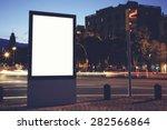 illuminated blank billboard... | Shutterstock . vector #282566864