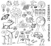 ecology and recycle doodle... | Shutterstock .eps vector #282580844