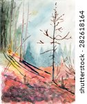 Watercolor Forest Meadow