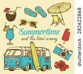retro summer vacation set with... | Shutterstock .eps vector #282622868