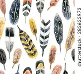 Stock photo feather pattern hand drawn watercolor seamless pattern with feathers realistic feathers on white 282622973