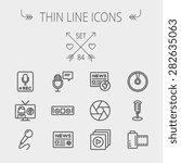 Multimedia Thin Line Icon Set...