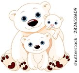 Stock vector illustration of mommy and daddy bears with their babies 282653609