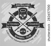 bodybuilding emblem in vintage...   Shutterstock .eps vector #282657500