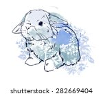 cute hare  rabbit sketch vector ... | Shutterstock .eps vector #282669404