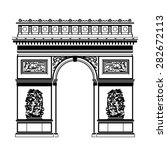 french arc de triomphe in black ...   Shutterstock .eps vector #282672113