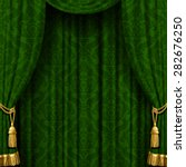 Green Curtain With Baroque...