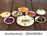 hummus  different appetizer ... | Shutterstock . vector #282698384