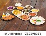 kebap plate. hummus  different... | Shutterstock . vector #282698396