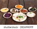 hummus  different appetizer ... | Shutterstock . vector #282698399