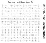 data line hand drawn icon set  | Shutterstock .eps vector #282703010