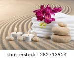 spa treatment  towel  candle. | Shutterstock . vector #282713954
