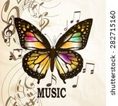 music background with butterfly ... | Shutterstock .eps vector #282715160