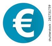 blue circle euro currency flat...