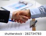 business people shaking hands ...   Shutterstock . vector #282734783