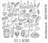 hand drawn beer bottles and bar ... | Shutterstock .eps vector #282739070