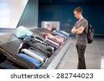young handsome man passenger in ... | Shutterstock . vector #282744023