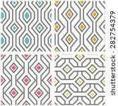 Stock vector set of geometric seamless patterns vector background with geometrical ornament 282754379