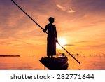 Silhouette Fishermen Are Using...
