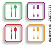 fork and spoon with shadow | Shutterstock .eps vector #282773786