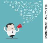 businessman use loudspeaker... | Shutterstock .eps vector #282790148