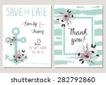 2 save the date cards template... | Shutterstock .eps vector #282792860