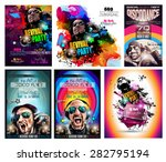 club disco flyer set with dj... | Shutterstock .eps vector #282795194