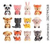 vector set of cartoon animals... | Shutterstock .eps vector #282799268