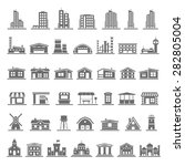 black icons   buildings | Shutterstock .eps vector #282805004