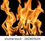 Burning Flame On Black...
