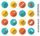 set icons hand tools flat style ... | Shutterstock .eps vector #282809006