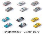 Stock vector vector isometric icon set representing private police cars and taxi cab with front and rear views 282841079