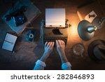 vintage journalist's desk 1950s ... | Shutterstock . vector #282846893