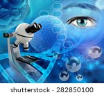 microscope and human eye in a... | Shutterstock . vector #282850100