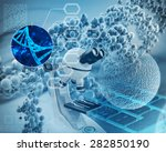 microscope  dna double helix... | Shutterstock . vector #282850190