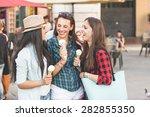 three  women eating ice cream...   Shutterstock . vector #282855350
