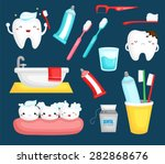 teeth and toothbrush | Shutterstock .eps vector #282868676